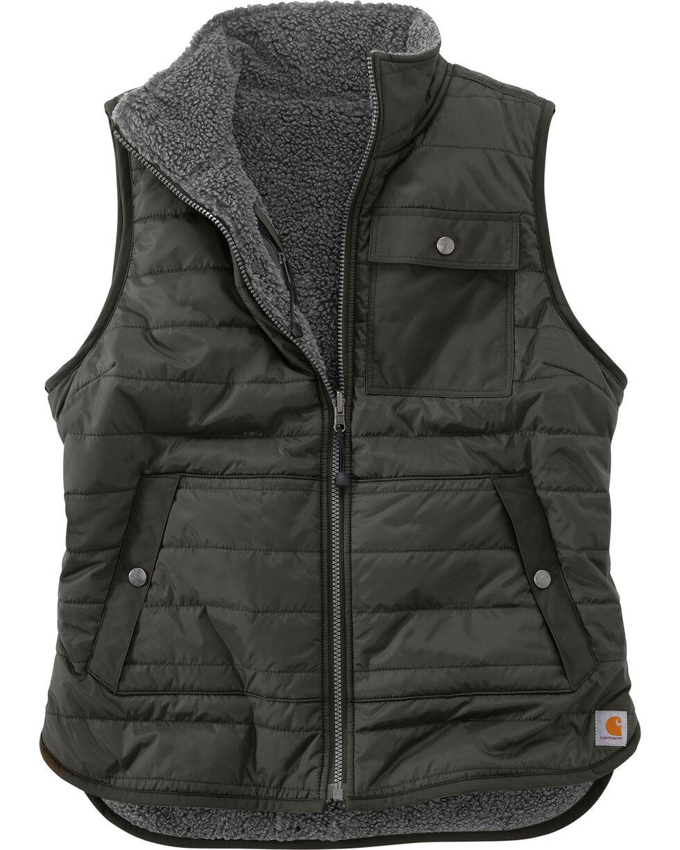 Carhartt Women's Burlwood Amoret Sherpa-Lined Vest , Bark, hi-res