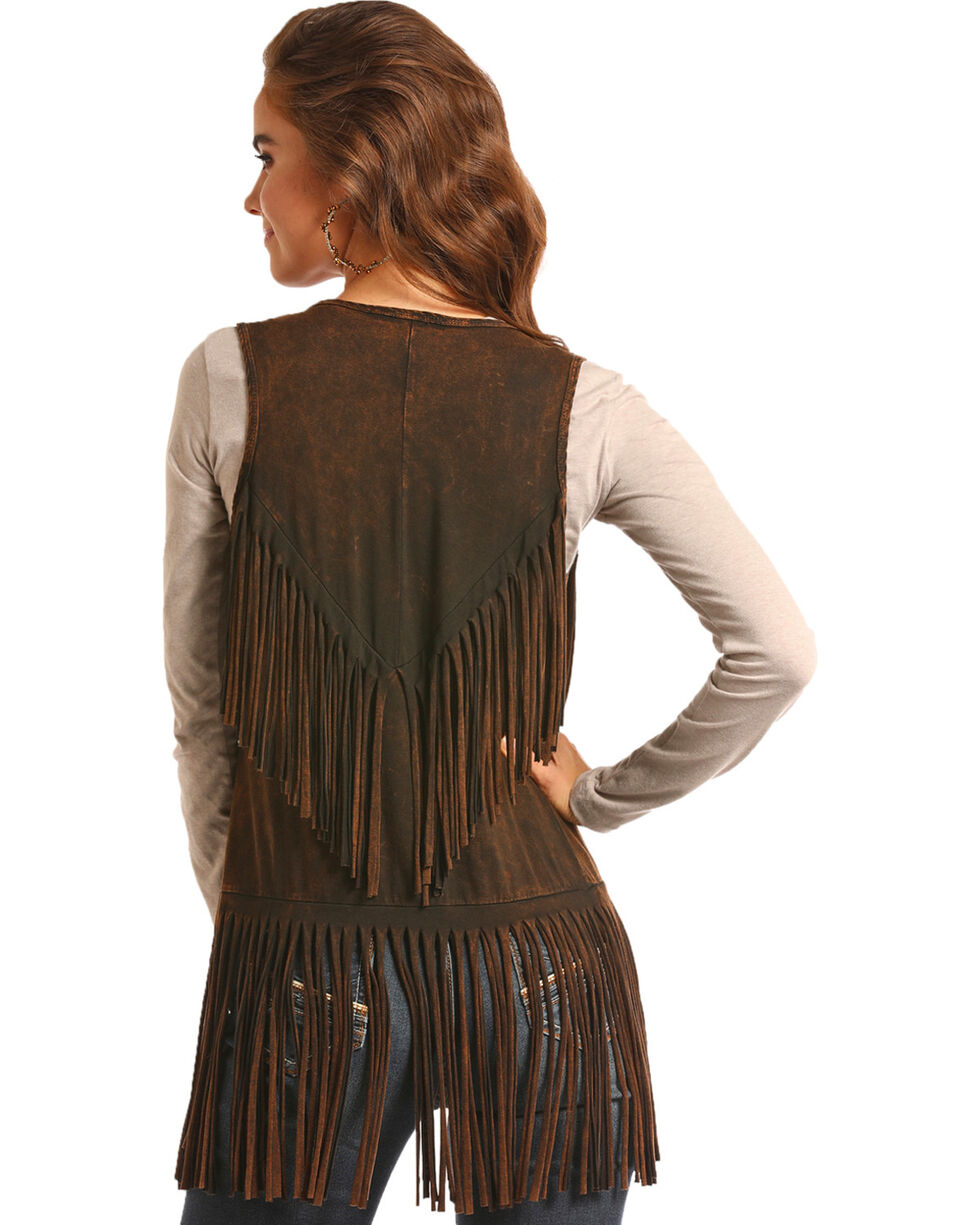 Rock & Roll Cowgirl Women's Brown Double Fringe Vest , Brown, hi-res