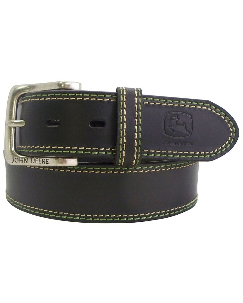 John Deere Brown Buffalo Leather Belt, Black, hi-res