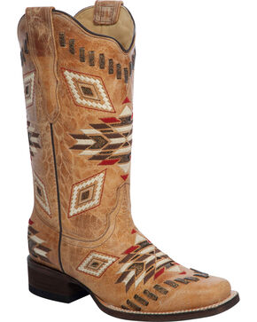Corral Women's Antique Saddle Aztec Western Boots, Antique Saddle, hi-res