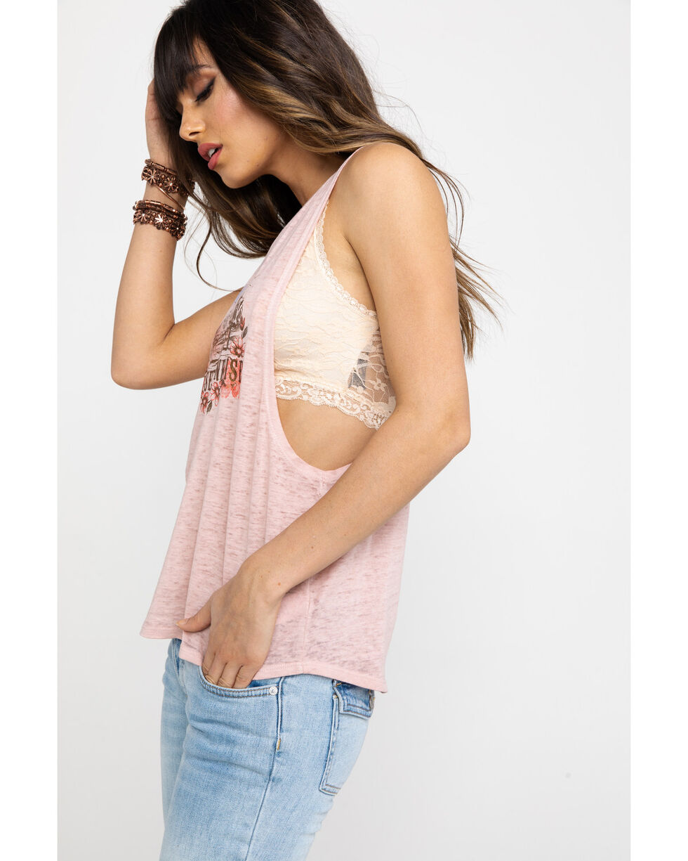 Shyanne Women's Blush Burnout Desert Graphic Open Back Tank Top, Blush, hi-res