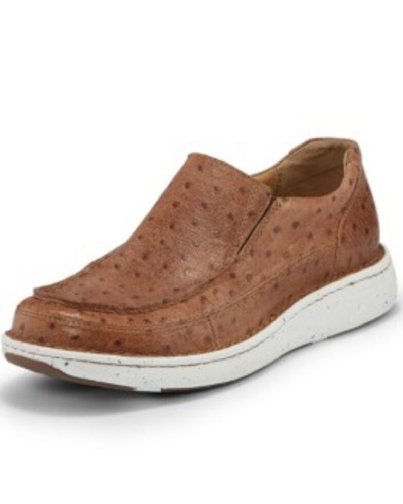 Justin Men's Hazer Tan Full Quill Ostrich Print Shoes - Moc Toe, Brown, hi-res