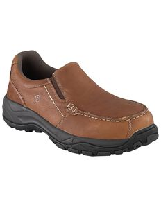 Rockport Works Men's Extreme Light Slip-On Oxford Work Shoes - Composite Toe, Brown, hi-res