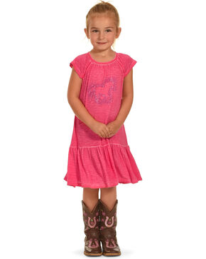 Cowgirl Hardware Toddler Girls' Dip Dyed Sparkle Horse Dress, Pink, hi-res