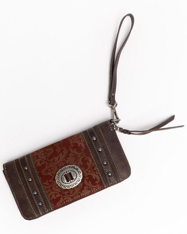 Shyanne Women's Laser Etched Baroque Wallet, Wine, hi-res