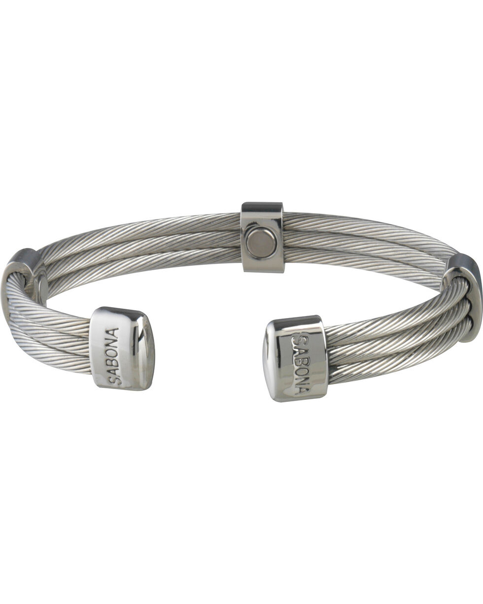 Sabona Trio Cable Stainless Magnetic Wristband , Steel, hi-res