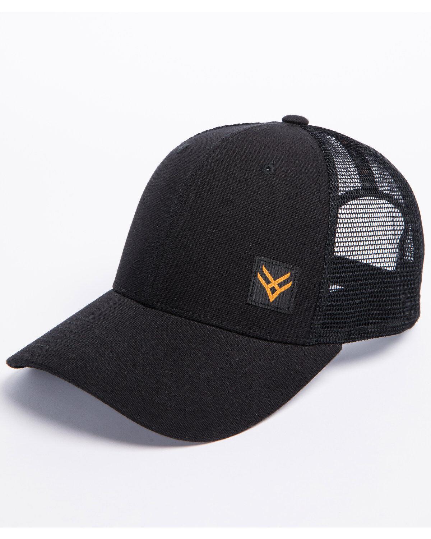 b12dc5748b9a0 ... clearance hawx mens black woven patch trucker cap black hi res d3ef4  8086a
