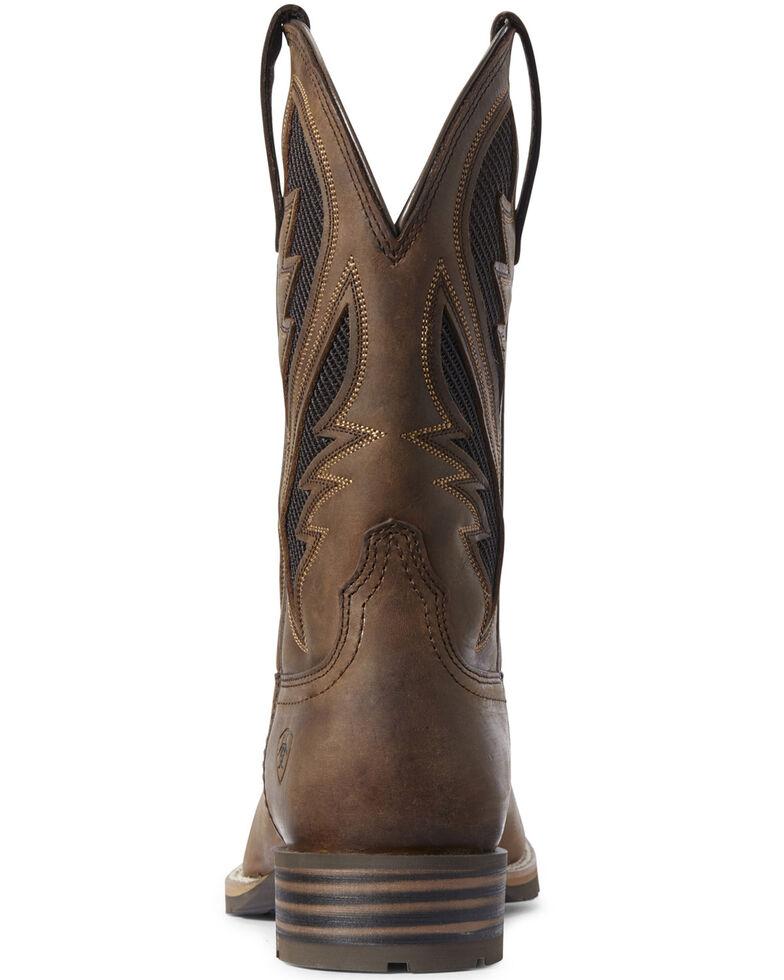 Ariat Men's Hybrid VentTEK Distressed Western Boots - Wide Square Toe, Brown, hi-res