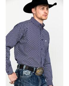 Ariat Men's Speakman Stretch Geo Print Long Sleeve Western Shirt , Purple, hi-res