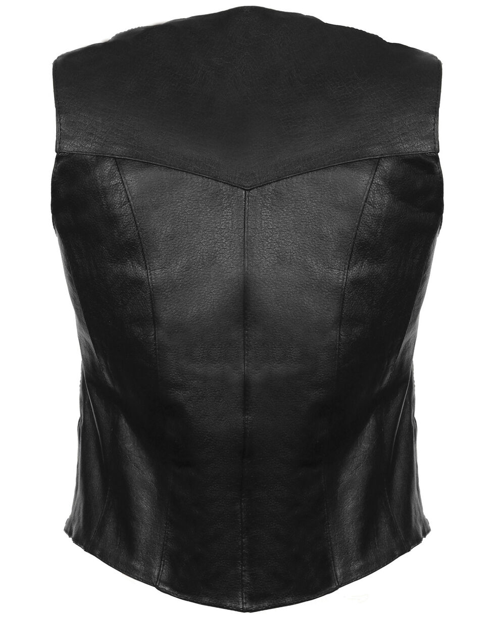 Milwaukee Leather Women's Classic Four Snap Vest, Black, hi-res