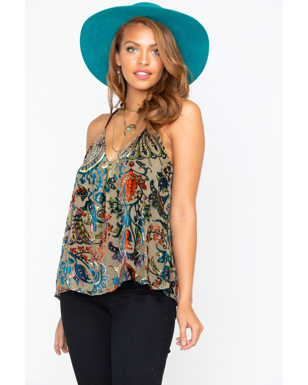 Mary & Mabel Lotus Olive Burnout Tank, Olive, hi-res