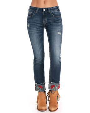 Rock & Roll Cowgirl Women's Mid Rise Rose Embroidered Cuff Jeans, Indigo, hi-res