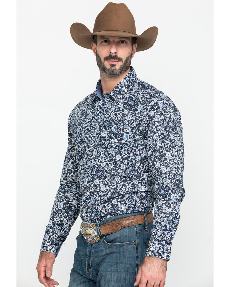 Rock & Rock Cowboy Men's Floral Print Long Sleeve Western Shirt , Black, hi-res