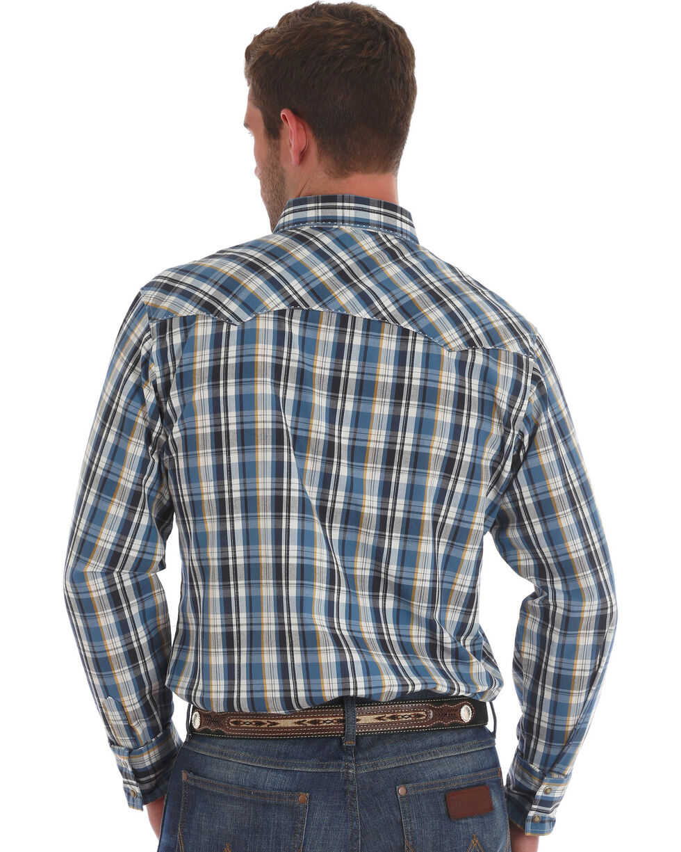 Wrangler Men's Blue/Black Plaid Long Sleeve Western Snap Shirt, Blue, hi-res