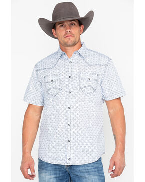 Moonshine Spirit Men's Floral Tapestry Short Sleeve Western Shirt, White, hi-res