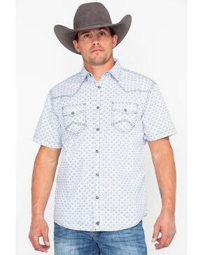 Moonshine Spirit Men's Floral Tapestry Short Sleeve Western Shirt, White, hi-res