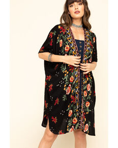 Angie Women's Black Rode Floral Border Print Challis Kimono, Black, hi-res