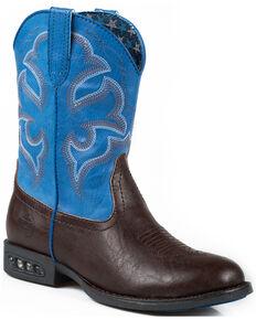 Roper Boy's Lightning Light-Up Western Boots, Brown, hi-res