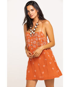 Free People Women's Azealia Embellished Slip Dress, Rust Copper, hi-res