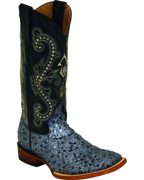 Ferrini Women's Sparkle Slate Sequin Cowgirl Boots - Square Toe, Slate, hi-res