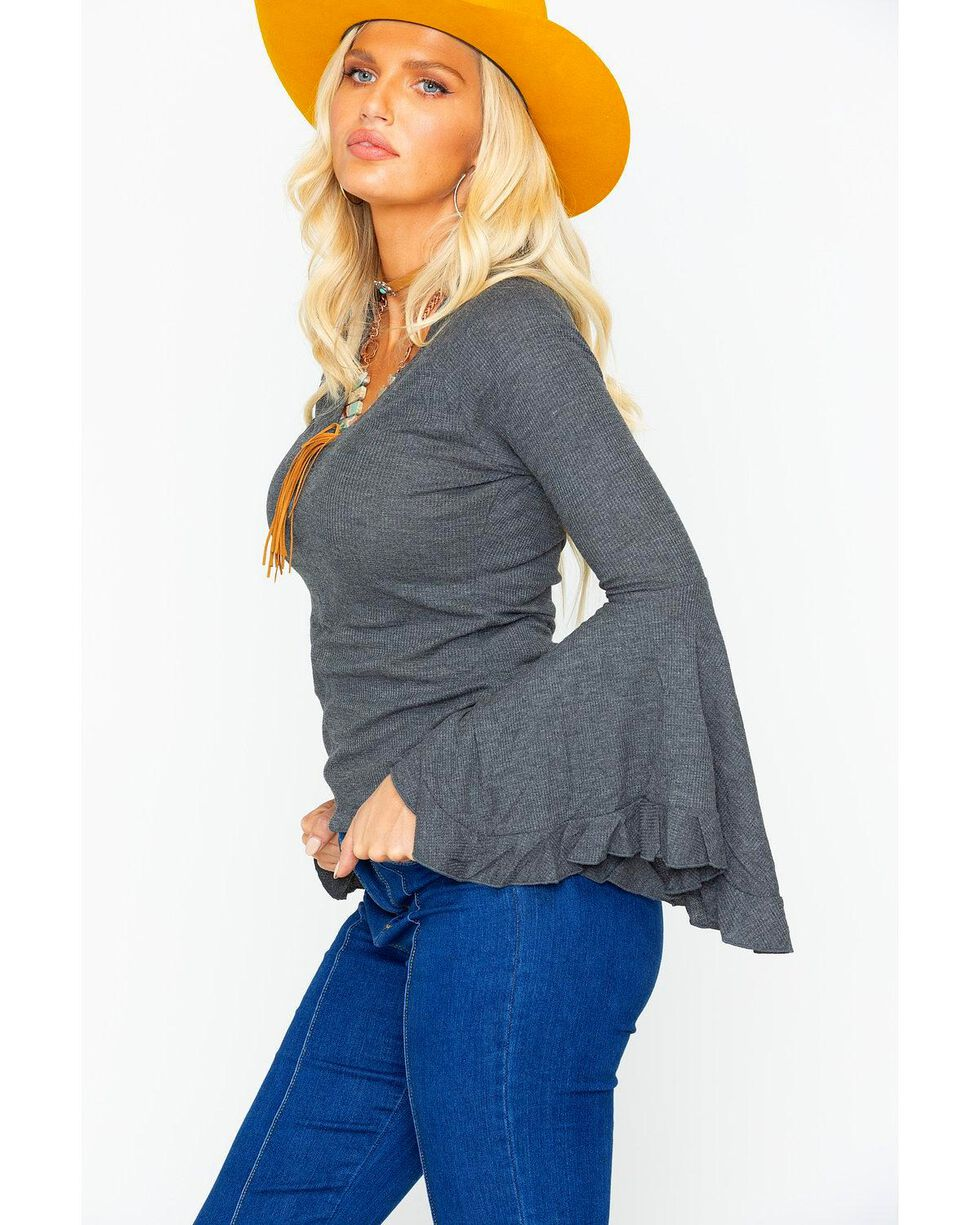 Panhandle Women's Waffle Knit V-Neck Bell Sleeve Top, Heather Grey, hi-res