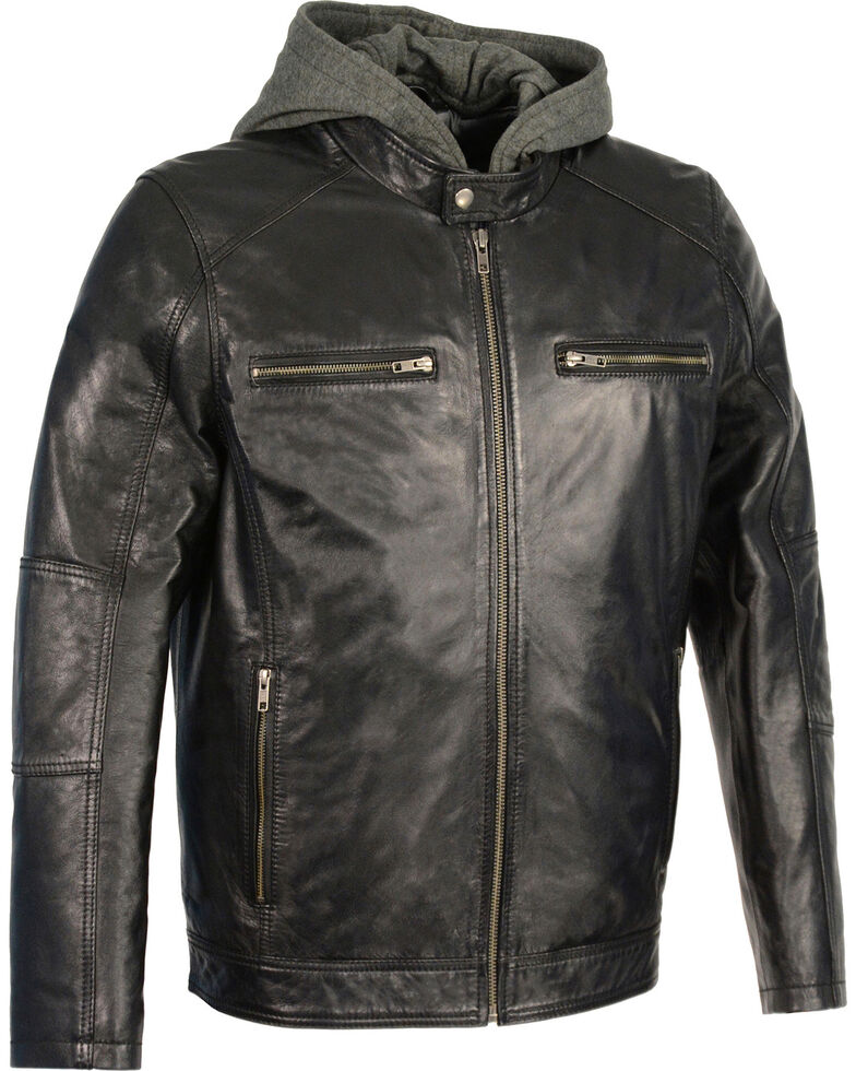 Milwaukee Leather Men's Snap Collar Leather Moto Jacket w/ Removable Hood - Big - 3X, , hi-res