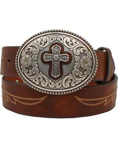 Ariat Women's Western Cross Leather Belt, Brown, hi-res