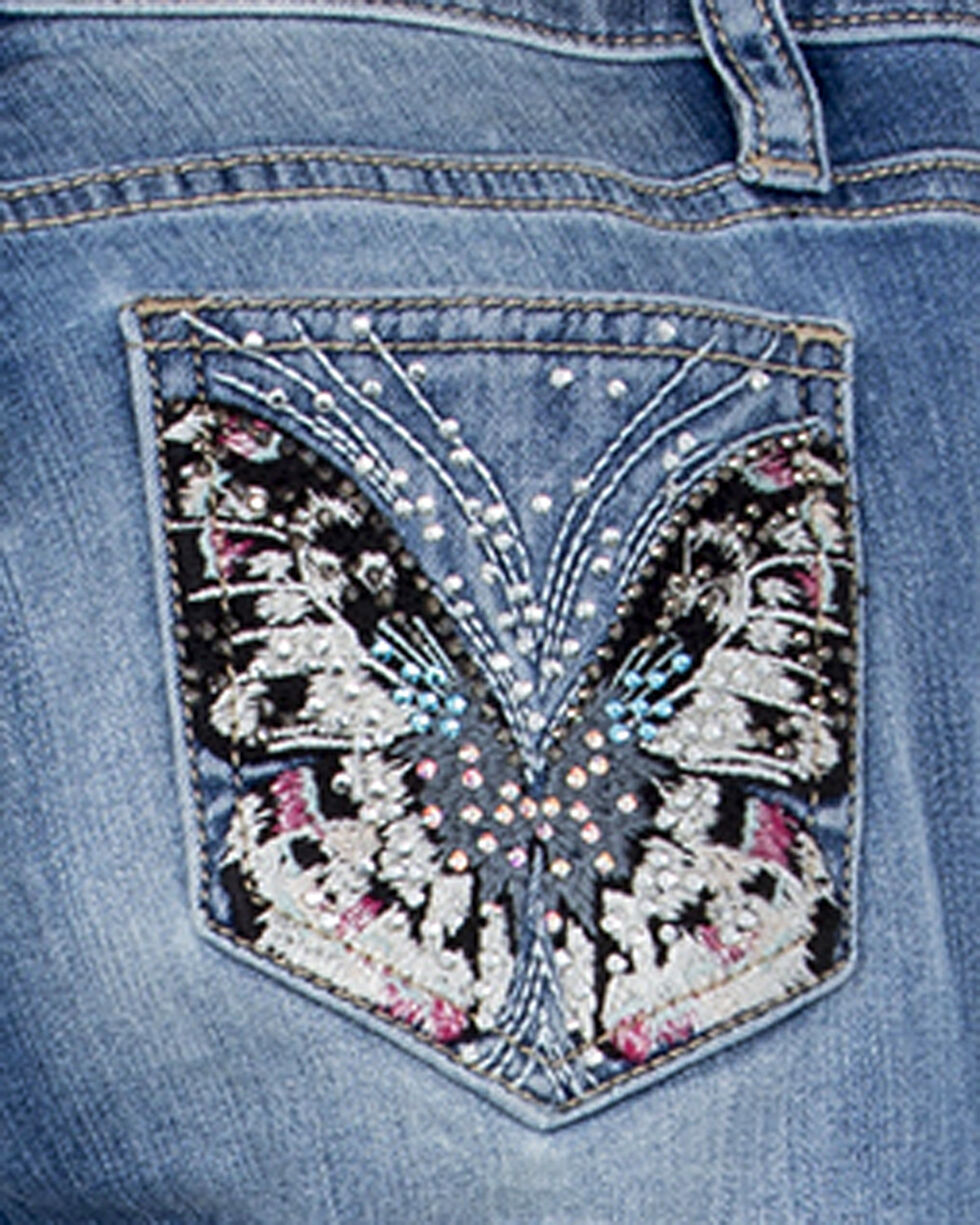 Miss Me Girls' Float Like A Butterfly Skinny Jeans, Indigo, hi-res