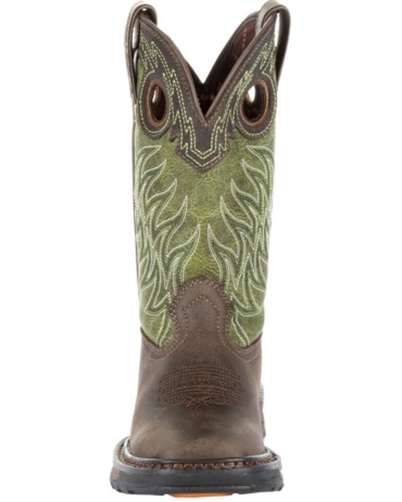 Durango Boys' Maverick XP Western Work Boots - Square Toe, Green/brown, hi-res