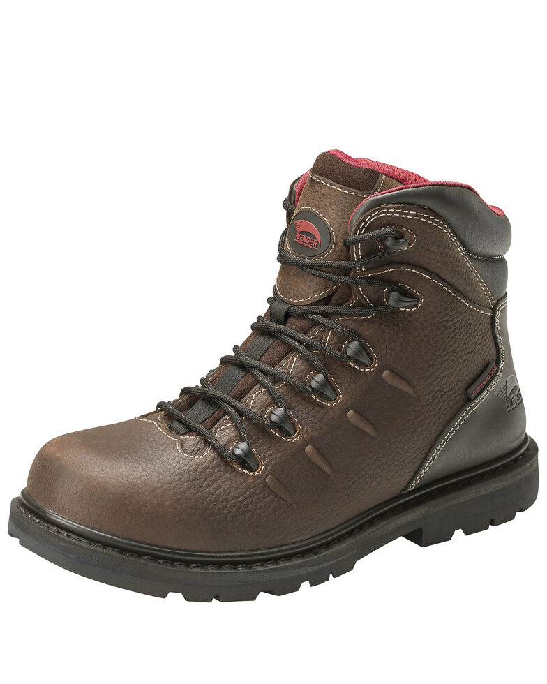 Avenger Men's Waterproof Lace-Up Work Boots - Soft Toe, Brown, hi-res