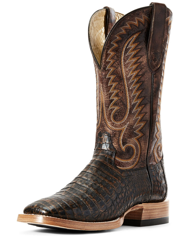Ariat Men's Toffee Caiman Belly Western Boots - Wide Square Toe, Brown, hi-res