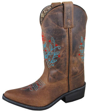 Smoky Mountain Girls' Flora Western Boots - Snip Toe, Brown, hi-res