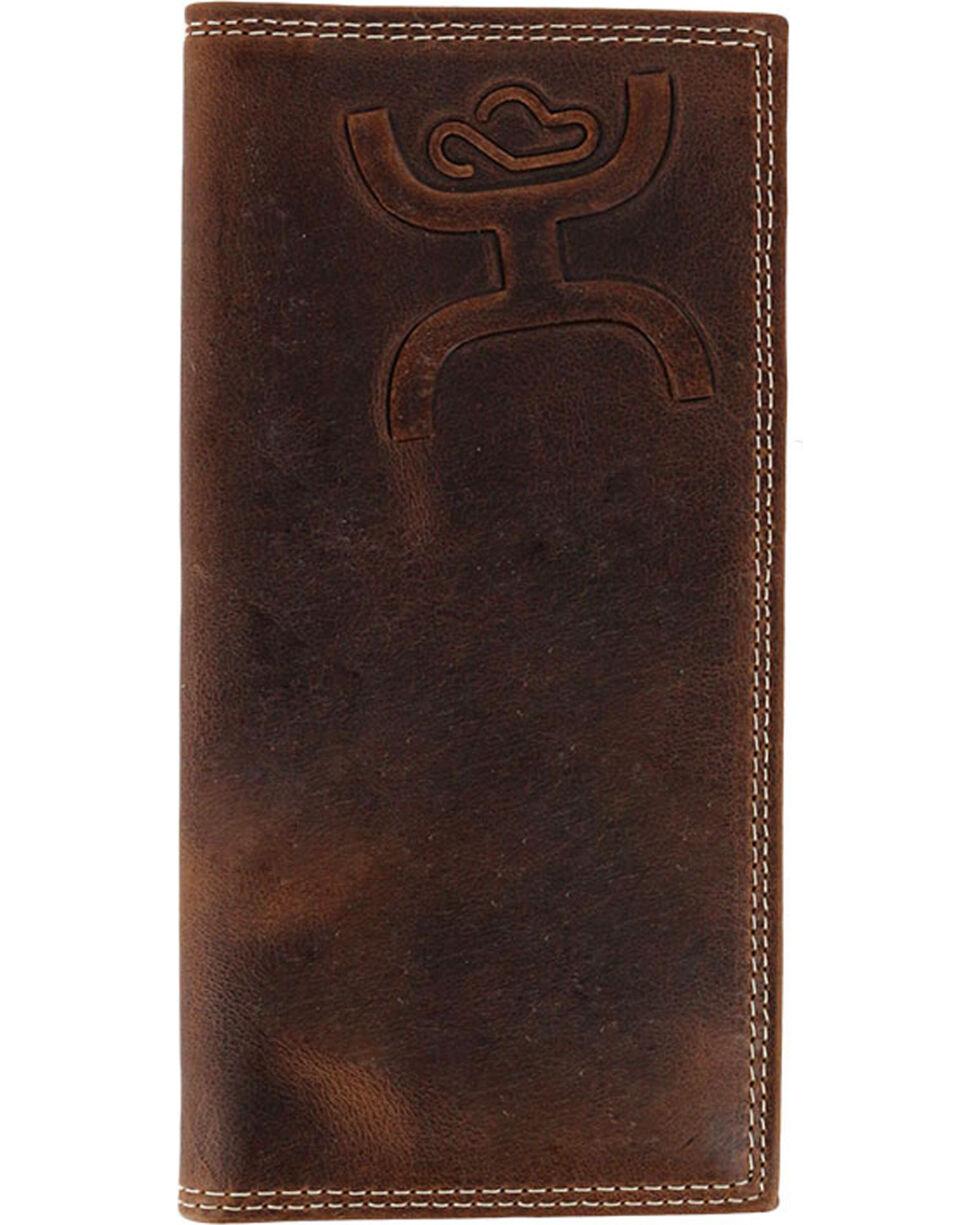 HOOey Men's Tooled Logo Rodeo Wallet, Brown, hi-res