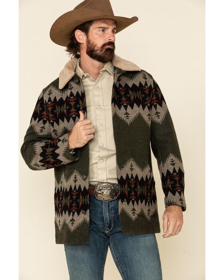 Pendleton Men's Green Brownsville Aztec Button Front Sherpa Coat , Olive, hi-res
