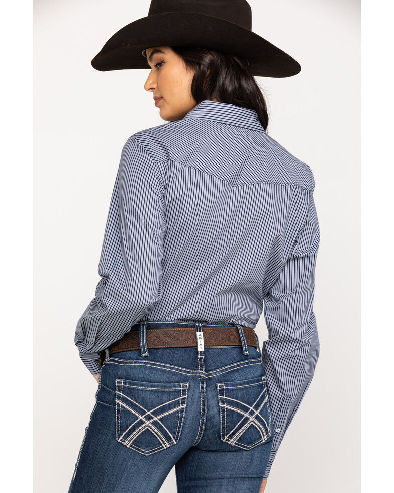 Cinch Women's Stripe Print Snap Long Sleeve Western Shirt , Multi, hi-res