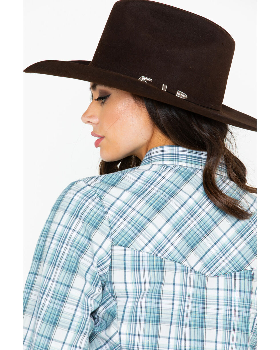 Outback Trading Co. Women's Darla Plaid Performance Long Sleeve Western Shirt , Teal, hi-res