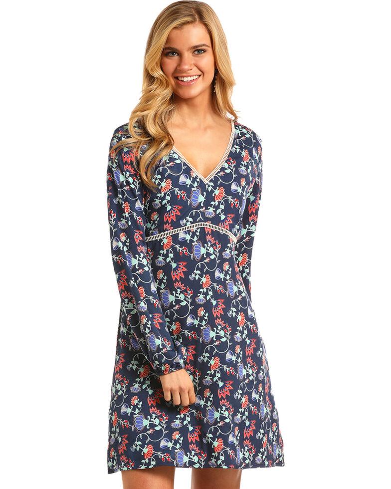 Rock & Roll Cowgirl Women's Blue Floral Empire Waist Dress , Blue, hi-res