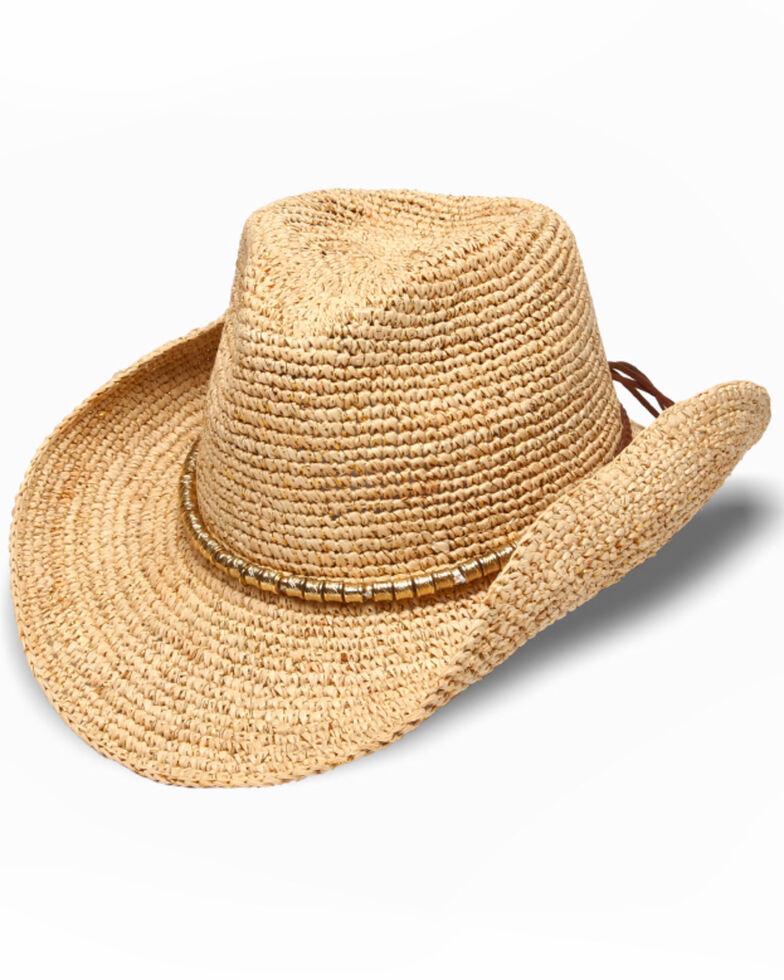 Physician Endorsed Women's Sierra Natural Crochet Raffia Gold Beaded Hat, Natural, hi-res