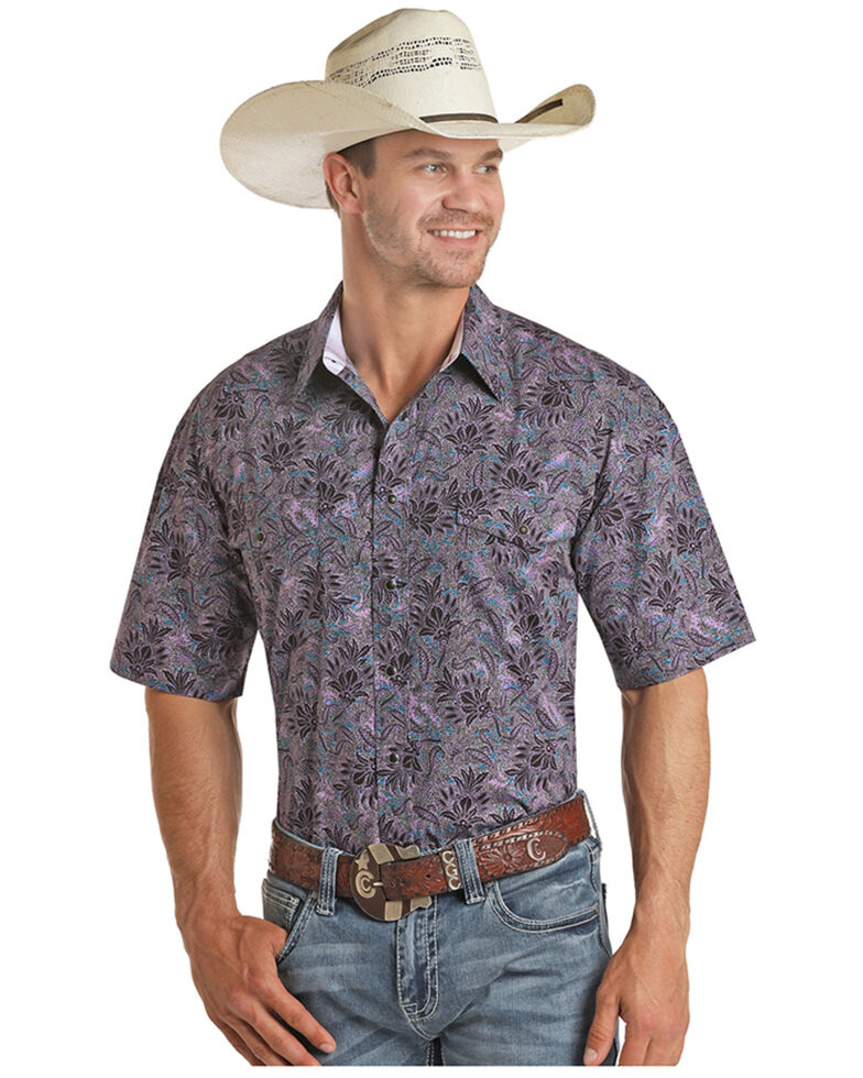 Panhandle Select Men's Purple Floral Print Short Sleeve Snap Western Shirt , Purple, hi-res