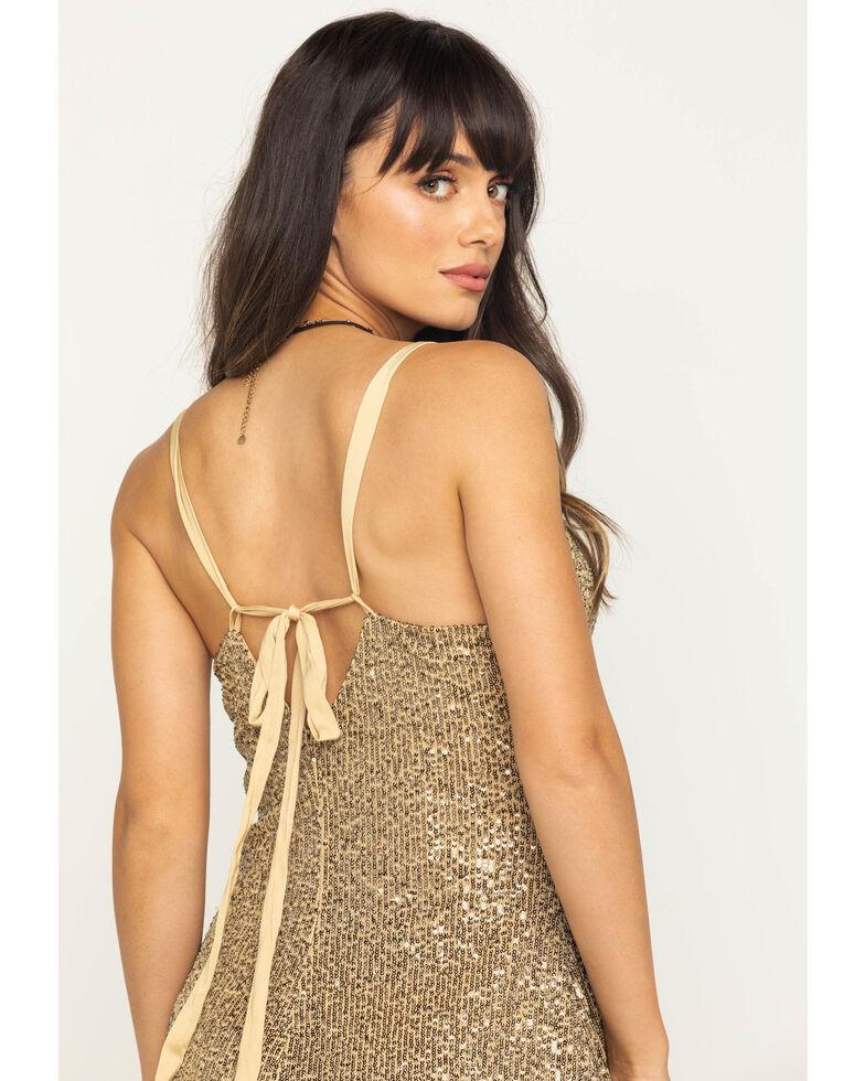 Free People Women's Gold Rush Mini Dress, Gold, hi-res