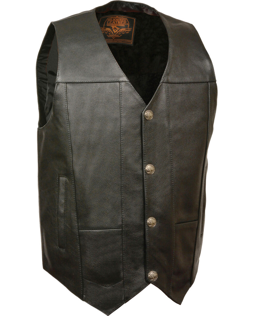 Milwaukee Leather Men's Buffalo Snap Plain Side Vest, Black, hi-res