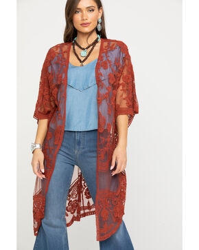 Polagram Women's Rust Lace Long Kimono, Rust Copper, hi-res