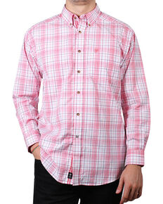 Ariat Men's Nolan Long Sleeve Performance Shirt, Coral, hi-res
