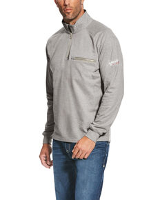 Ariat Men's FR Silver Fox Rev 1/4 Zip Work Pullover , Heather Grey, hi-res