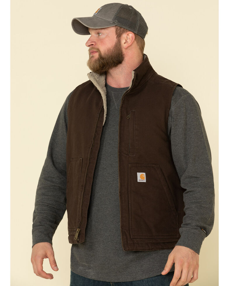 Carhartt Men's Dark Brown Washed Duck Sherpa Lined Mock Neck Work Vest - Big , Dark Brown, hi-res