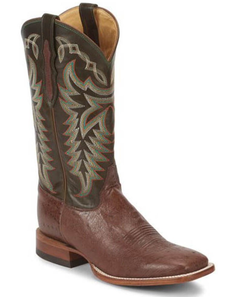 Justin Men's Pascoe Kango Smooth Ostrich Western Boots - Wide Square Toe, Brown, hi-res