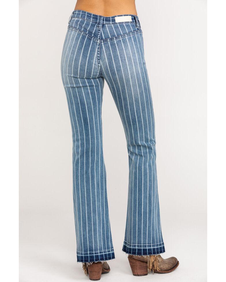 Rock & Roll Cowgirl Women's High Rise Stripe Trouser, Blue, hi-res