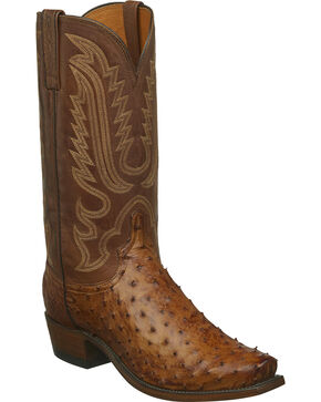 Lucchese Men's Luke Full Quill Ostrich Western Boots - Narrow Square Toe, Tan, hi-res