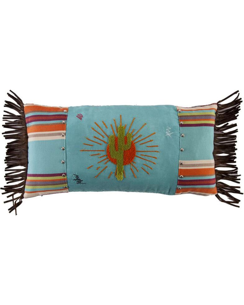 HiEnd Accents Turquoise Sunburst Pillow , Turquoise, hi-res