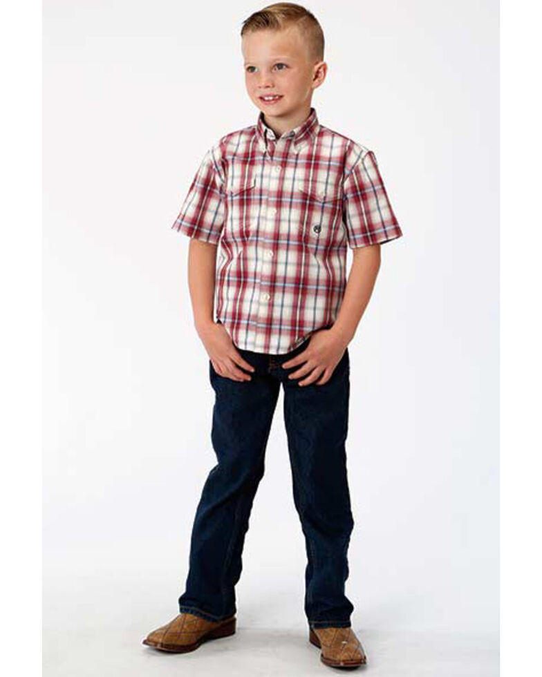 Amarillo Boys' Vintage Plaid Button Short Sleeve Western Shirt , Red, hi-res